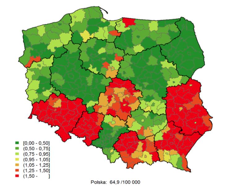 Rys. Statystyka umieralności Polaków w określonych regionach Polski na chorobę miażdżycową