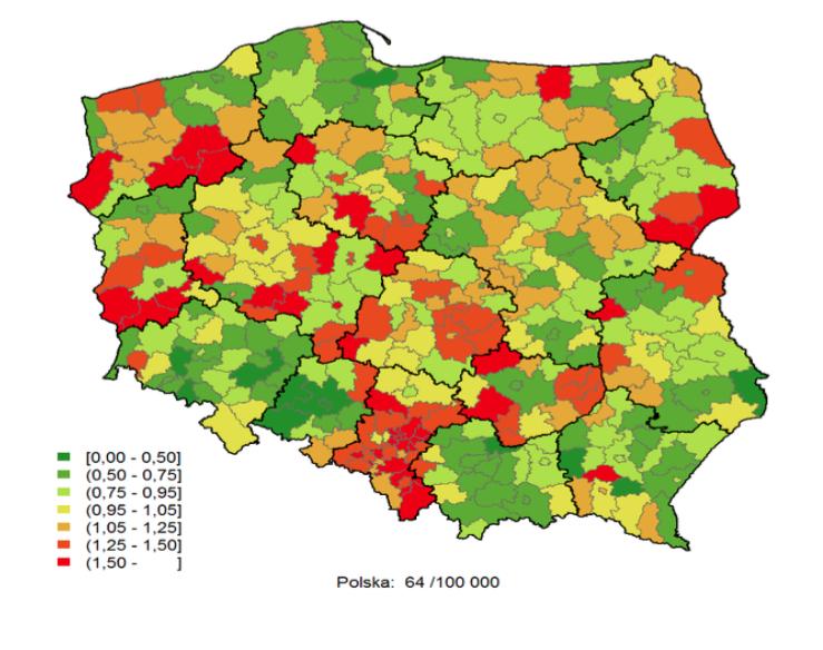 Rys. Statystyka umieralności Polaków w określonych regionach Polski na zawał serca